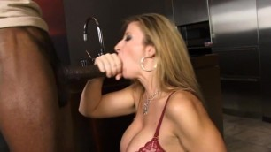 Sara Jay sucks black cock and gets her mouth creamed
